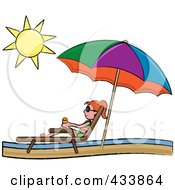 Red Haired Stick Girl Relaxing In A Lounge Chair On The Shore Under A Beach Umbrella