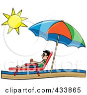 Royalty Free RF Clipart Illustration Of A Stick Asian Boy Relaxing In A Lounge Chair On The Shore Under A Beach Umbrella by Pams Clipart
