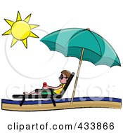 Royalty Free RF Clipart Illustration Of A Stick Brunette Boy Relaxing In A Lounge Chair On The Shore Under A Beach Umbrella by Pams Clipart