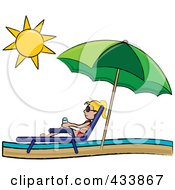Royalty Free RF Clipart Illustration Of A Blond Stick Girl Relaxing In A Lounge Chair On The Shore Under A Beach Umbrella by Pams Clipart