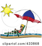 Royalty Free RF Clipart Illustration Of A Stick Blond Boy Relaxing In A Lounge Chair On The Shore Under A Beach Umbrella by Pams Clipart