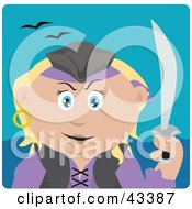 Clipart Illustration Of A Caucasian Pirate Woman Holding A Sword