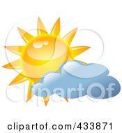 Royalty Free RF Clipart Illustration Of A Yellow Sun And Blue Cloud