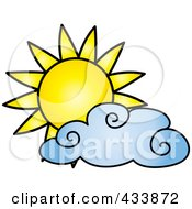 Royalty Free RF Clipart Illustration Of A Sun And Blue Cloud by Pams Clipart