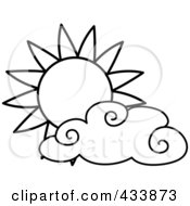 Royalty Free RF Clipart Illustration Of An Outlined Sun And Cloud