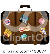 Royalty Free RF Clipart Illustration Of A Well Used Brown Suitcase With Travel Stickers And Pins