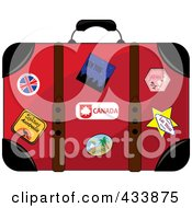 Royalty Free RF Clipart Illustration Of A Well Used Red Suitcase With Travel Stickers And Pins