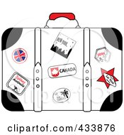 Royalty Free RF Clipart Illustration Of A Well Used White Suitcase With Travel Stickers And Pins