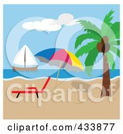 Royalty Free RF Clipart Illustration Of A Beach Umbrella And Lounge Chair By A Palm Tree With A View Of A Sailboat by Pams Clipart