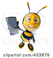 Royalty Free RF Clipart Illustration Of A 3d Bee Holding Out A Cell Phone