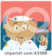 Clipart Illustration Of A Latin American House Painter Man Holding A Brush
