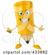 Royalty Free RF Clipart Illustration Of A 3d Pencil Character Gesturing by Julos
