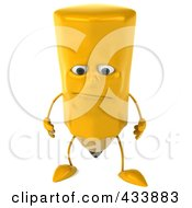 Royalty Free RF Clipart Illustration Of A 3d Pencil Character Facing Front And Pouting by Julos