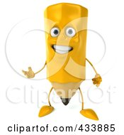 Royalty Free RF Clipart Illustration Of A 3d Pencil Character Smiling And Gesturing by Julos