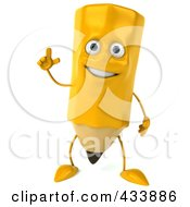 Royalty Free RF Clipart Illustration Of A 3d Pencil Character With An Idea by Julos