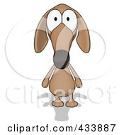 Cartoon Brown Pookie Wiener Dog Facing Front