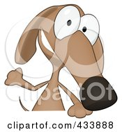 Royalty Free RF Clipart Illustration Of A Cartoon Brown Pookie Wiener Dog And A Blank Sign 1