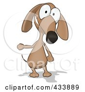 Royalty Free RF Clipart Illustration Of A Cartoon Brown Pookie Wiener Dog Gesturing And Facing Front