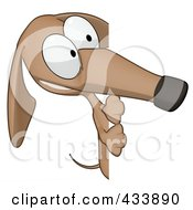 Royalty Free RF Clipart Illustration Of A Cartoon Brown Pookie Wiener Dog And A Blank Sign 2 by Julos