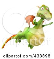 Royalty Free RF Clipart Illustration Of A 3d Dragon Flying Past With A Thumbs Up