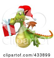 Royalty Free RF Clipart Illustration Of A 3d Christmas Dragon Flying With A Present
