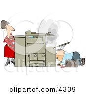 Businesswoman Watching A Repairman Fix Her Broken Photocopy Machine Clipart