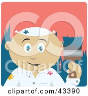 Clipart Illustration Of A Mexican House Painter Man Holding A Brush