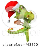 Royalty Free RF Clipart Illustration Of A 3d Christmas Dragon Looking Around A Blank Sign