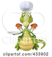 Royalty Free RF Clipart Illustration Of A 3d Dragon Chef Holding A Plate