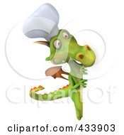 Royalty Free RF Clipart Illustration Of A 3d Dragon Chef Looking Around A Blank Sign