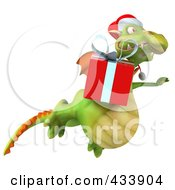 Royalty Free RF Clipart Illustration Of A 3d Christmas Dragon Flying With A Gift