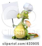 Royalty Free RF Clipart Illustration Of A 3d Dragon Chef Holding A Blank Sign