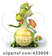 Royalty Free RF Clipart Illustration Of A 3d Dragon Facing Front And Presenting