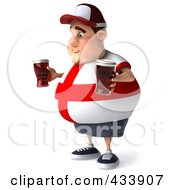 Royalty Free RF Clipart Illustration Of A 3d Fat English Man Facing Left And Holding Beer