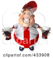 Royalty Free RF Clipart Illustration Of A 3d Fat English Man Looking Up And Holding Beer