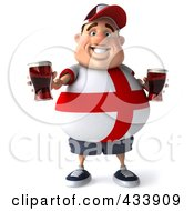Royalty Free RF Clipart Illustration Of A 3d Fat English Man Facing Front And Holding Up Beer
