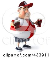 Royalty Free RF Clipart Illustration Of A 3d Fat English Man Facing Right And Holding Beer by Julos