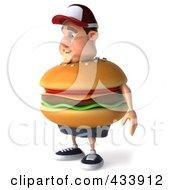 Royalty Free RF Clipart Illustration Of A 3d Cheeseburger Man Facing Left