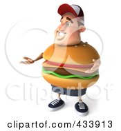 Royalty Free RF Clipart Illustration Of A 3d Cheeseburger Man Facing Left And Gesturing