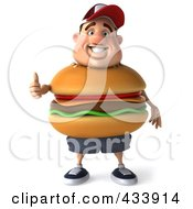 Royalty Free RF Clipart Illustration Of A 3d Cheeseburger Man Facing Front With A Thumb Up