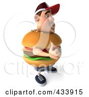 Royalty Free RF Clipart Illustration Of A 3d Cheeseburger Man Facing Right With A Thumb Up