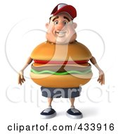 Royalty Free RF Clipart Illustration Of A 3d Cheeseburger Man Facing Front