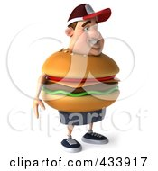Royalty Free RF Clipart Illustration Of A 3d Cheeseburger Man Facing Right