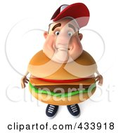 Royalty Free RF Clipart Illustration Of A 3d Cheeseburger Man Looking Up