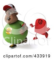 3d Chubby Black Burger Man Running From A Scale - 2