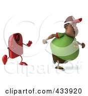3d Chubby Black Burger Man Running From A Scale - 1
