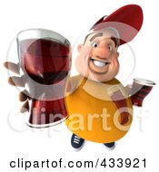Royalty Free RF Clipart Illustration Of A 3d Chubby Beer Man Holding Out A Beer by Julos