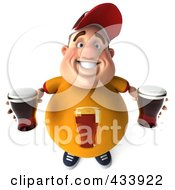 Royalty Free RF Clipart Illustration Of A 3d Chubby Beer Man Looking Up by Julos