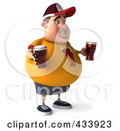 Royalty Free RF Clipart Illustration Of A 3d Chubby Beer Man Facing Right by Julos