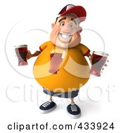 Royalty Free RF Clipart Illustration Of A 3d Chubby Beer Man Holding Beers by Julos